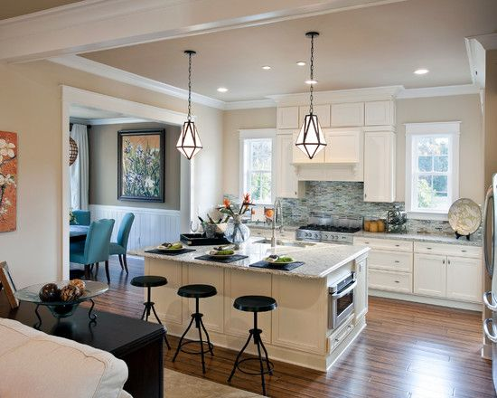 Kitchen, Attractive Traditional Kitchen With Beige Kitchen Cabinets And Kitchen Island Also Black And White Granite Countertop Also Rustic Black Kitchen Stool Also Antique Pendant Lamp Design: Beige Kitchen Cabinets for Your Best Options