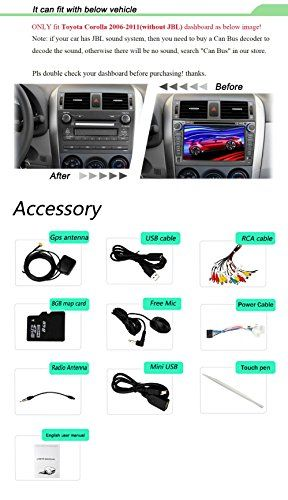 YINUO 8-Inch 800*480 HD Touch Screen Car DVD Player GPS Stereo for Non JBL Toyota Corolla 2006 2007 2008 2009 2010 2011 In Dash Navigation AV Receiver w/ iPod iPhone Music AM FM Radio Steering Wheel Control Bluetooth DVR AV-IN 1080P-video, 7 Color Button Illuminations  http://www.productsforautomotive.com/yinuo-8-inch-800480-hd-touch-screen-car-dvd-player-gps-stereo-for-non-jbl-toyota-corolla-2006-2007-2008-2009-2010-2011-in-dash-navigation-av-receiver-w-ipod-iphone-music-am-fm-radio..
