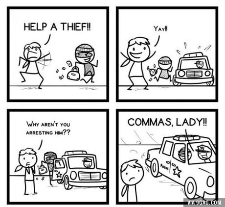 Commas are important for many reasons. #9Gag #funny