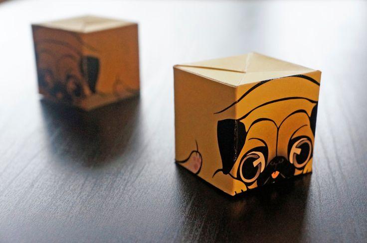 Cube ALL The Things! Pug Mug Paper Craft Origami, Chibby Animal DIY, Paper Toy, Cute Box, Desktop Display, Art Collectables, Home Decor by FineBlocks on Etsy