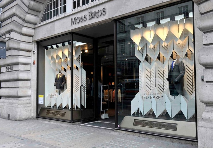 Beautifully designed @Moss Bros window display by AY Architects
