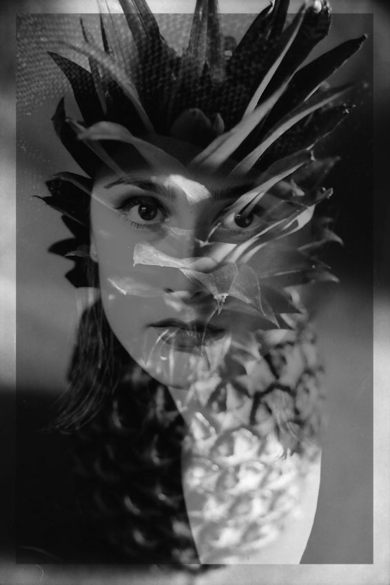Pineapple girl.  #patriciamccarthyphotography.  #black&white.   www.Riseart.com.