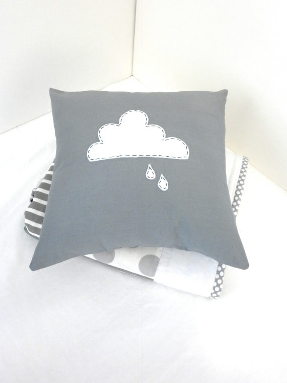 cloud and raindrop cushion