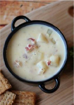 Slow-Cooker Cheesy Potato Soup with Bacon -- Recipe and Photo by Blogger, Liz Mays of www.anutinanutshell.com