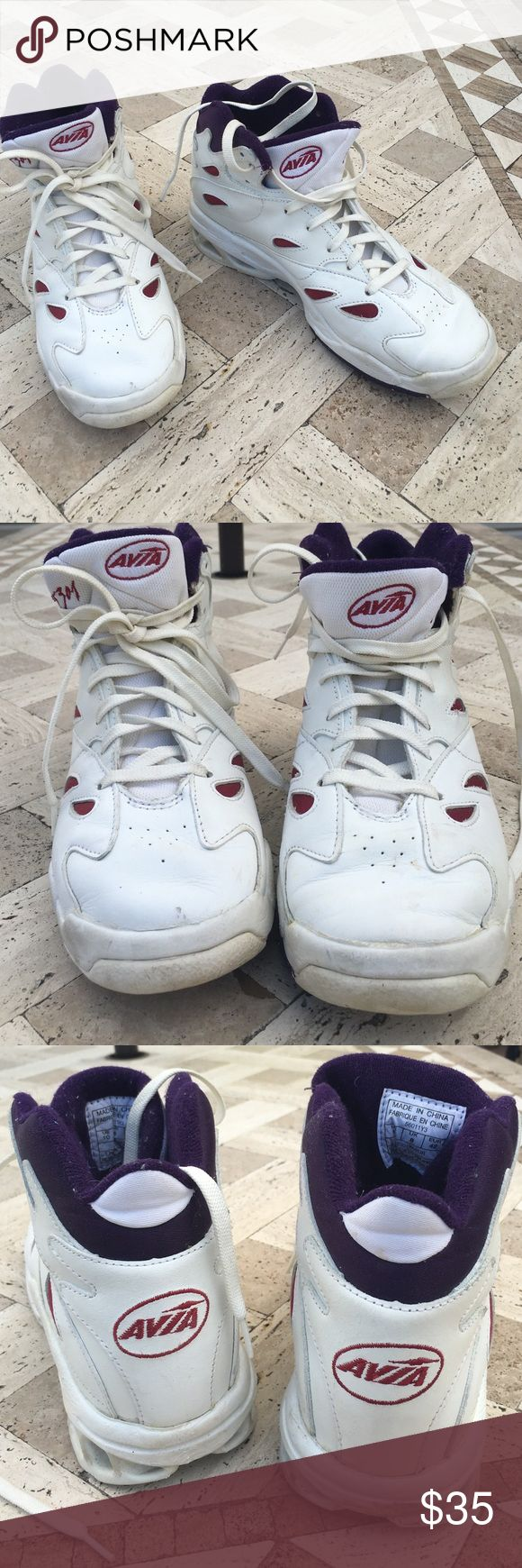 AVIA high tops Bought for aerobics, gently worn a few times &  then hurt my knee. Marked USA size 10/ EURO size 42. White leather with cushioned purple interior & trim Avia Shoes Sneakers