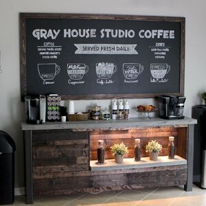 Today we are sharing how we made our DIY framed chalkboard for our breakfast nook as part of our coffee bar.