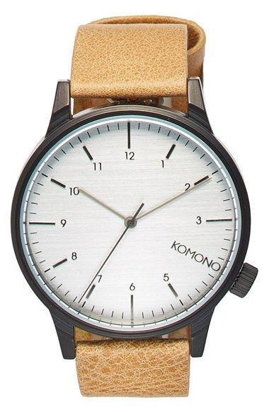 Komono 'Winston Regal' Leather Strap Watch, 42mm @nordstrom #nordstrom