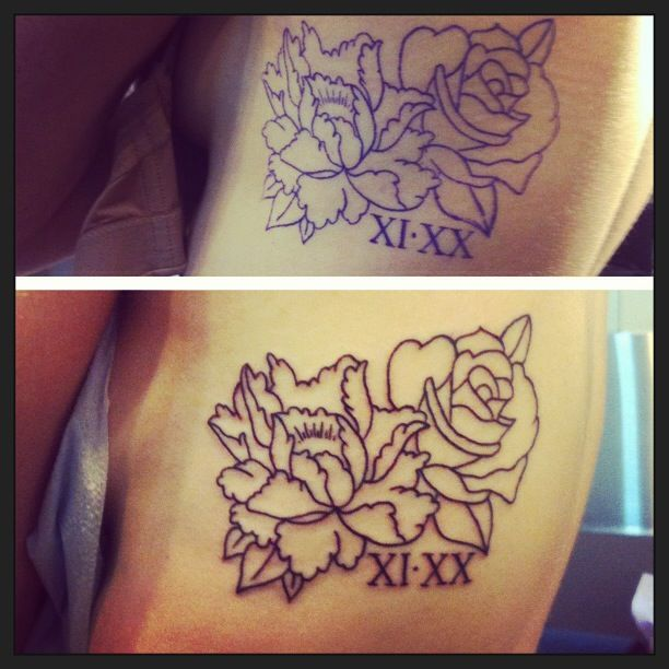 Before & after: Linework by Matt from Lower East Side Tattoo in Scarborough, ON, Canada. In memory of my mom.