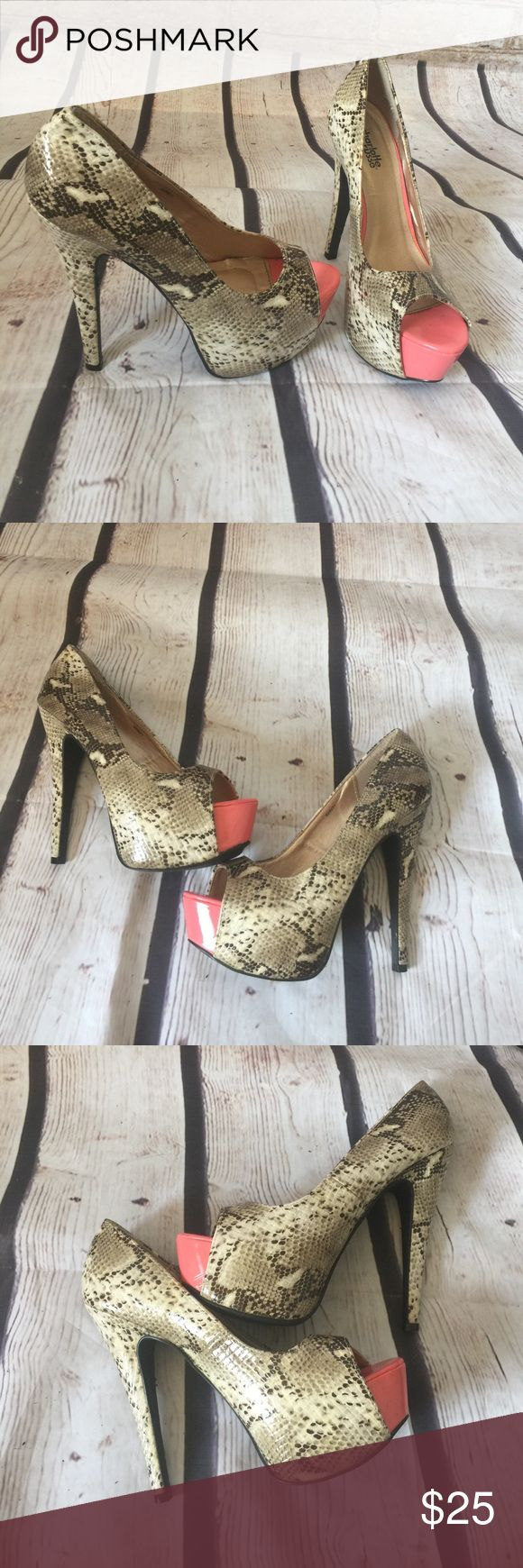 Charlotte Russe  snakeskin tan coral platform heel Charlotte Russe tan and coral platform high-heeled snakeskin excellent condition worn once pics are very detailed very sexy on! Love these heels Charlotte Russe Shoes Platforms