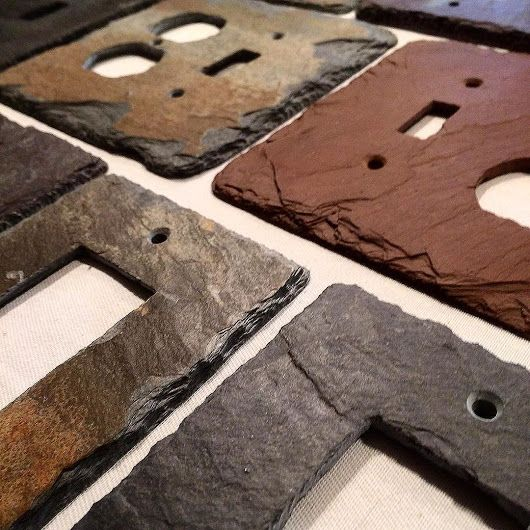 Creators of slate light switch covers, slate outlet covers, slate wall plates, slate switch plates and slate thermostat trim plates almost entirely  handmade. Custom options available. www.vermontslateplates.com