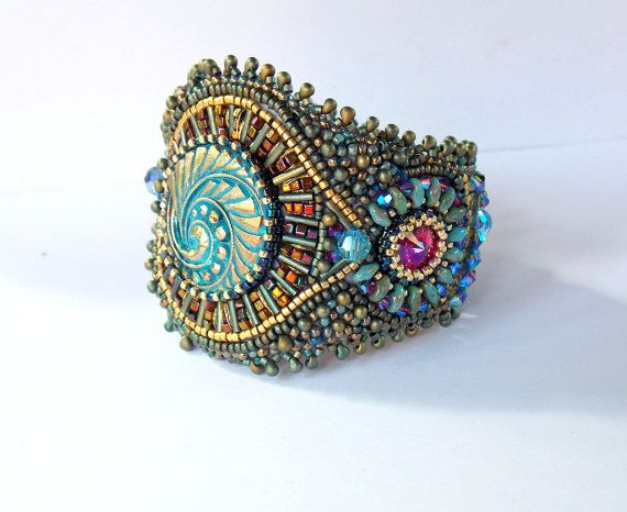 Pirates treasure   Bead Embroidery Bracelet   OOAK  by Vicus, $135.00