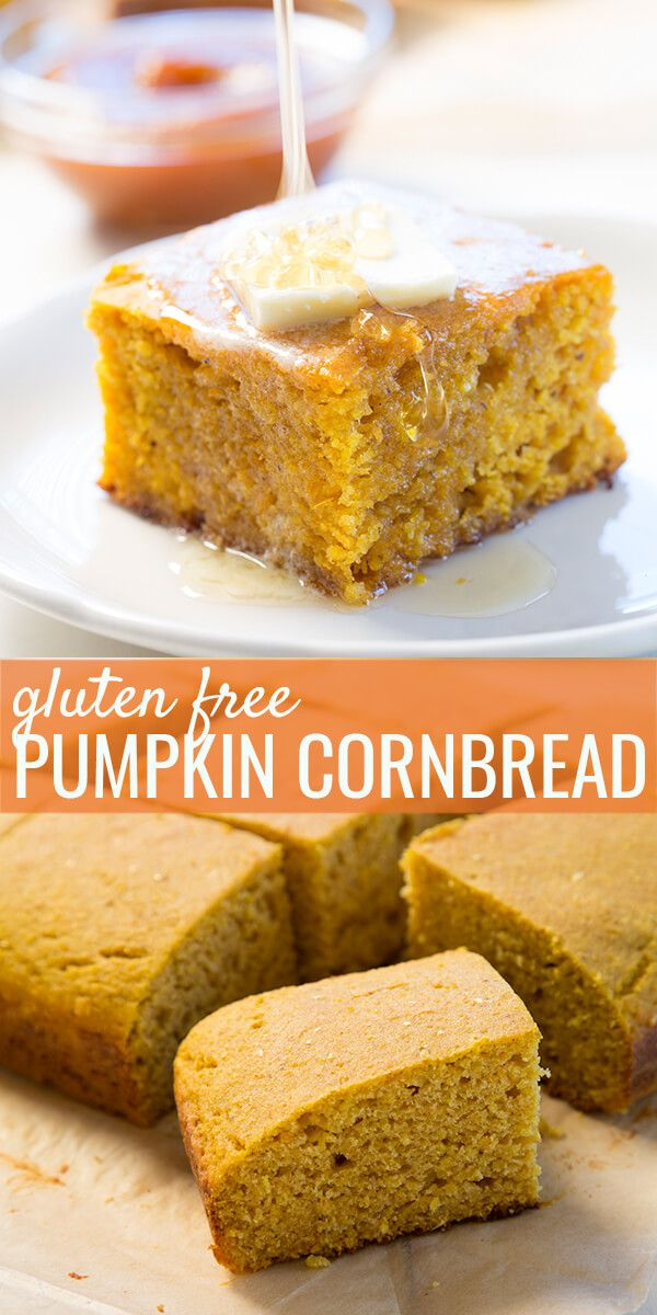 This moist and rich gluten free pumpkin cornbread is the perfect way to complete any fall meal, or as a base for stuffing for the holidays.