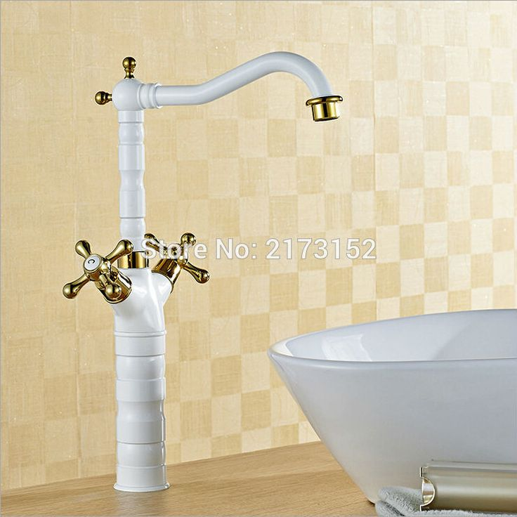 Royal Grilled White Painted Tall Double Gold Wheel Handle Bathroom Faucet Long Mouth Swivel Brass Basin Sink Mixer Tap W-011