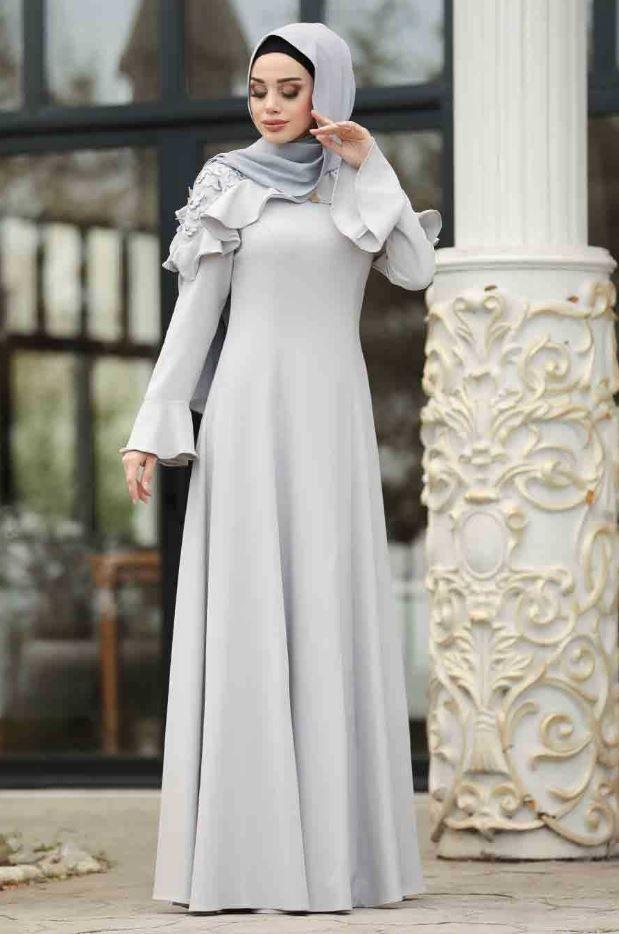 Duz Gri Tesettur Mezuniyet Elbise Tesettur Giyim 2020 The Dress Elbise Mavi Abiye