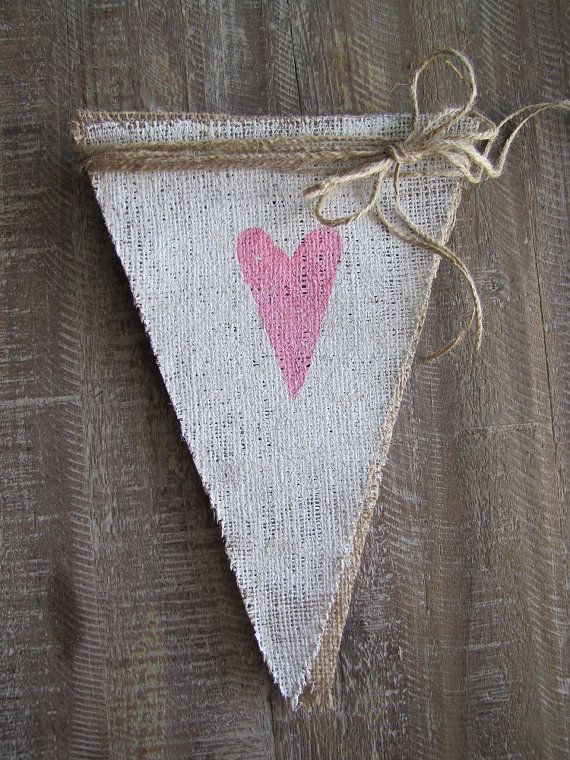 Pink Hearts on White Painted Burlap Banner by funkyshique on Etsy, $30.00