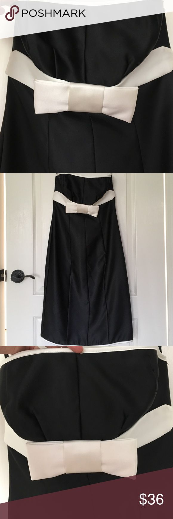 New black w/cream bow cocktail dress Tag no longer attached. Never worn Dresses Strapless