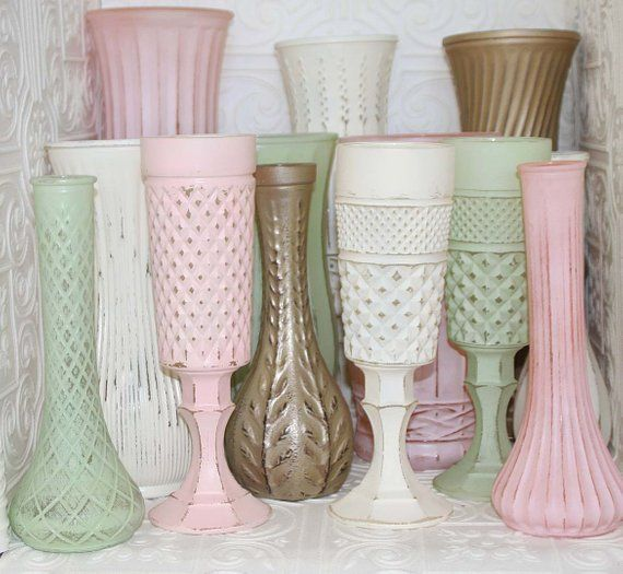 Blush Pink Mint Green Ivory Gold Shabby Chic Vase Set – Carole Kaleto