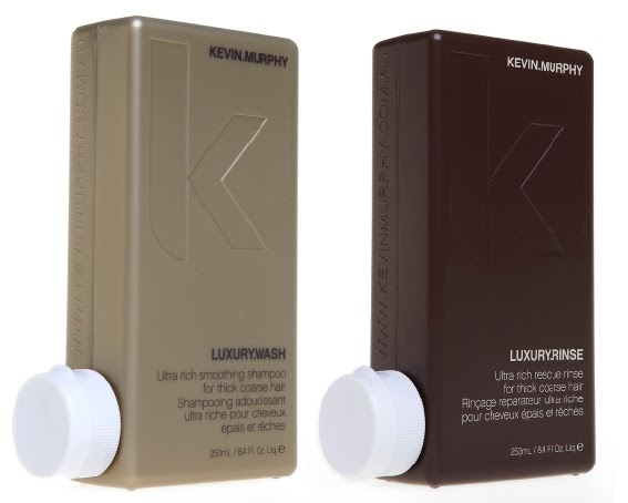 KEVIN MURPHY - LUXURY WASH AND RINSE <3 A smoothing shampoo and conditioner for COURSE hair, even if you don't have a ton of it!! Great for thick and coarse hair that needs a little extra softness. Smells like a day at the beach while giving coarse hair elasticity, shine and moisture! Contains Shea and Mango Butter that protect against weather damage, dryness and brittleness! <3