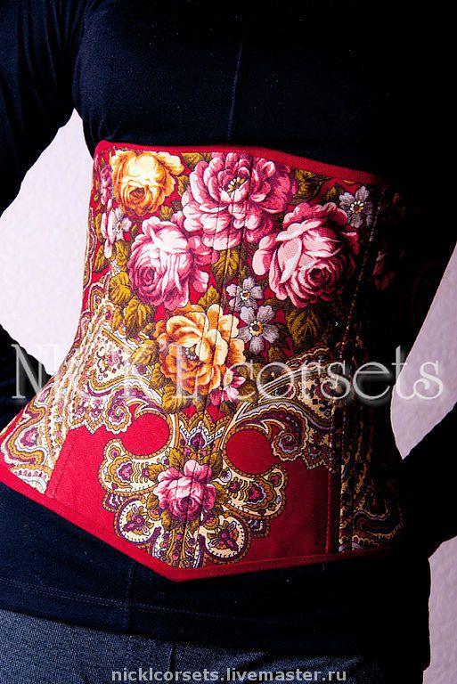 Купить Утягивающий корсет - Павлопосадский платок, корсет, корсет из платка…