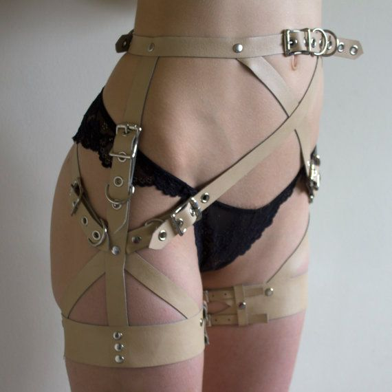 *Can be made for men all genders! Suitable for all humans of all shapes and sizes. Just make sure to send me your waist, hip, and thigh measurements when you order because this piece is made to order!  Pictured is cream vinyl and nickel hardware, but it can be made with other finishes of hardware or kinds of leather - just message me if youre looking for something specific.
