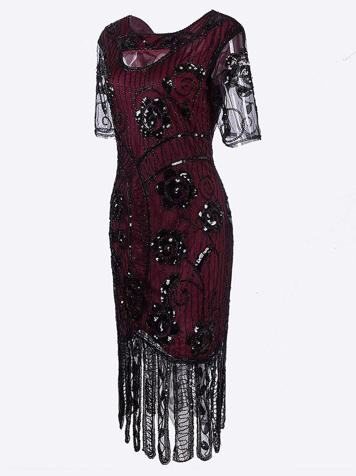 Vintage 1920s Dresses Floary Beaded Cocktail Flapper Dress with Sleeves Gatsby Party – Small Black Beige