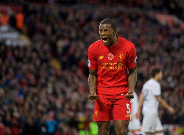 LIVERPOOL, ENGLAND - Sunday, November 6, 2016: Liverpool's Georginio Wijnaldum celebrates scoring the sixth goal against Watford during the FA Premier League match at Anfield. (Pic by David Rawcliffe/Propaganda)