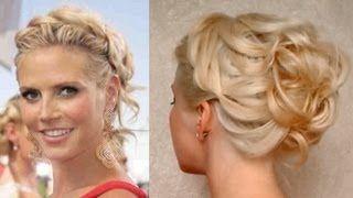 Prom hairstyle for medium long hair Curly updo Heidi Klum hochsteckfrisuren für…