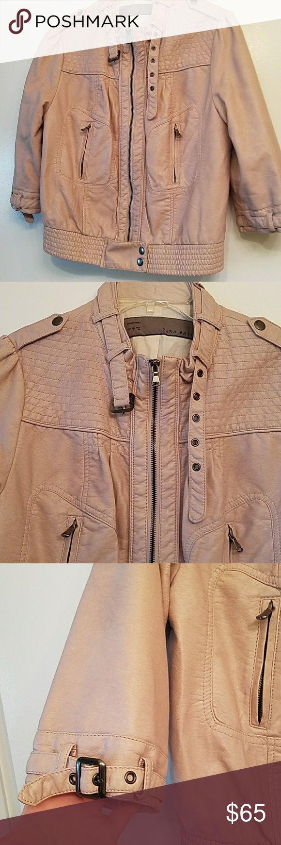 Light pink Zara Moto jacket Somewhat cropped light pink moto jacket with 3/4 len...