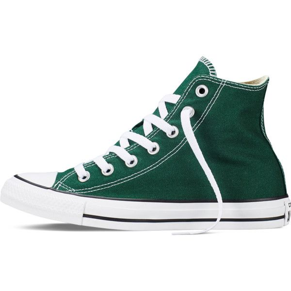 Converse Chuck Taylor All Star Fresh Colors – gloom green Sneakers ($55) ❤ liked on Polyvore featuring shoes, sneakers, converse footwear, green high tops, green shoes, star sneakers and high top shoes