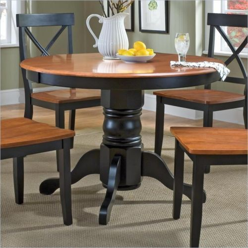 For Theresa   Home Styles Round Pedestal Casual Black Cottage Oak Finish Dining  Table
