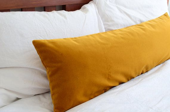 Long Lumbar Pillow Cover Mustard Velvet Pillow Cover Etsy