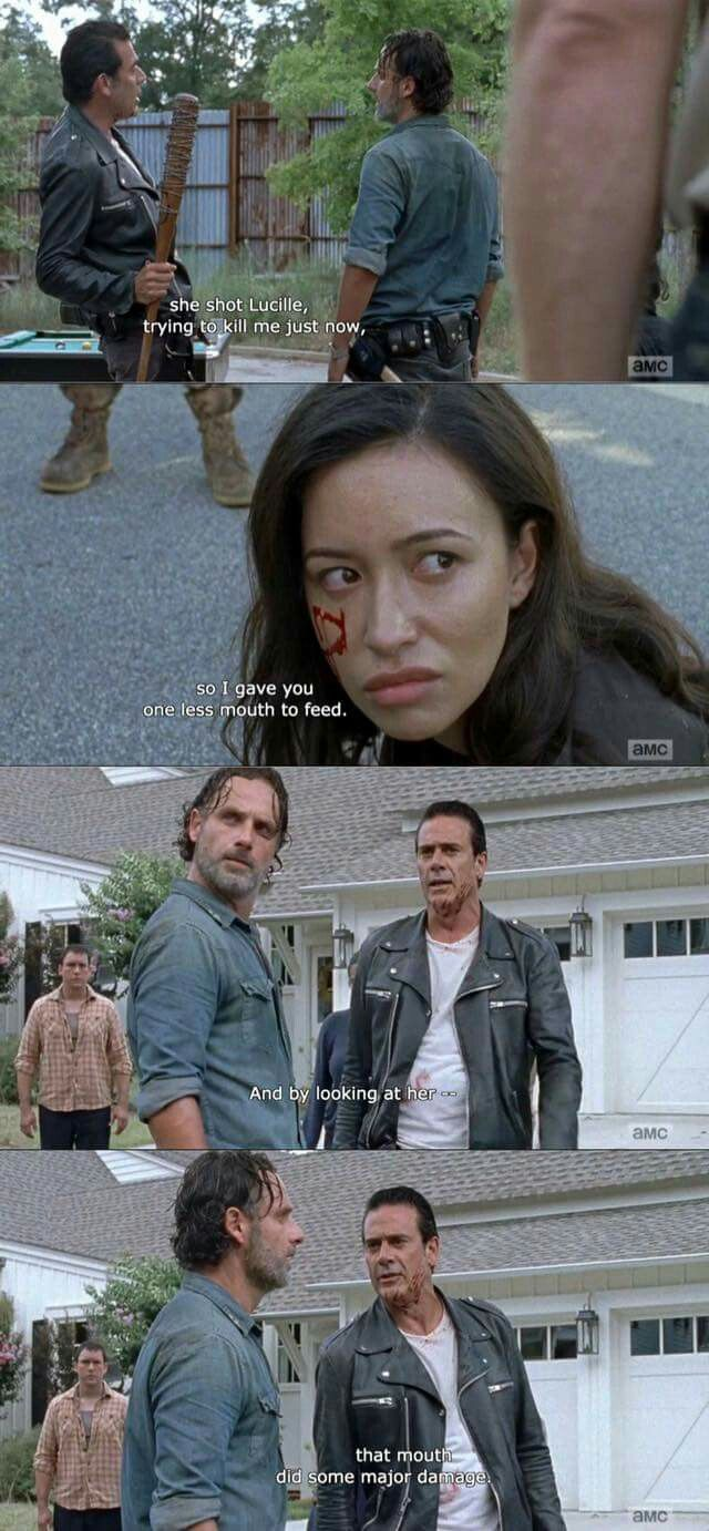 The Walking Dead S7E08 'Hearts Still Beating' Mid-Season Finale - Negan talking to Rick about killing Olivia because Rosita tried to shoot Negan and missed.