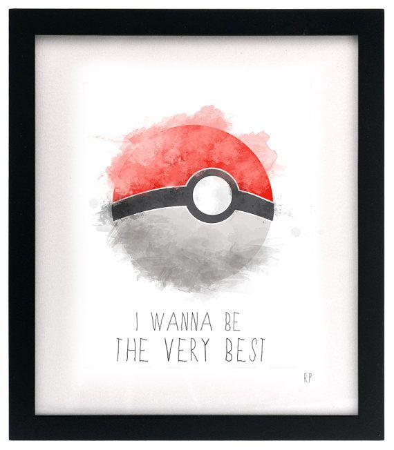 Watercolor Digital Pokemon Pokeball I Wanna Be by ByRachelPeloquin, $11.35