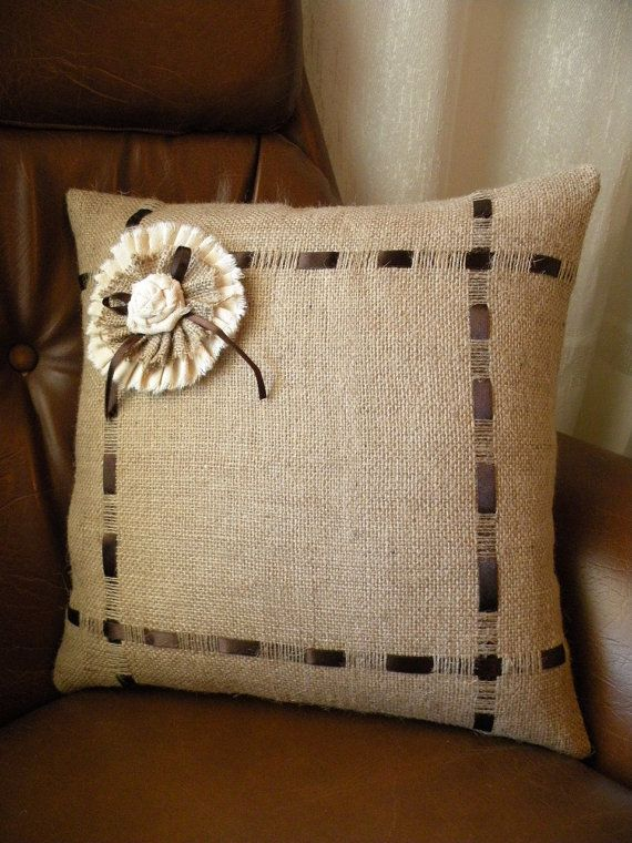This pillow cover is surely one-of-a-kind. Simple, modern pattern and neutral. This rustic handmade pillow cover made from Natural Burlap Fabric