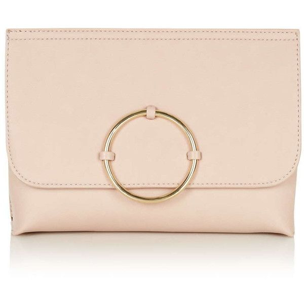 TopShop Circle Trim Clutch ($32) ❤ liked on Polyvore featuring bags, handbags, clutches, blush, topshop, circle purse, pink clutches, topshop purse and pink purse
