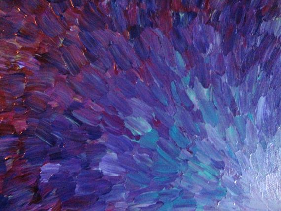SALE - Original Acrylic Abstract Painting Peacock Feathers Purple Eggplant Plum Lilac Lavender Water Ocean Waves Nature Theme Art 11 x 14