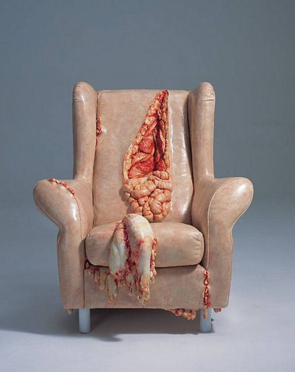 Edinburgh-based artist Jessica Harrison has created a collection of creepy miniature furniture that look like they have been crafted out of human skin and flesh.