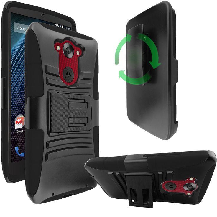 MOTOROLA DROID TURBO XT1254 CASE, HYBRID BELT CLIP HOLSTER COMBO COVER (BLACK)   #cellphonegadgets #mobileaccessories www.kuteckusa.com