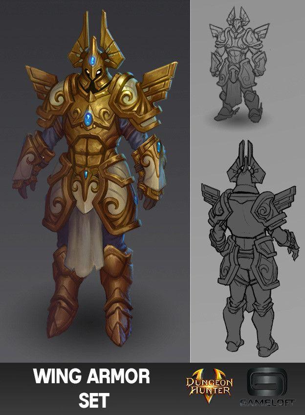 Dungeon Hunter 5 Armor Sets, Ian Jacobson on ArtStation at https://www.artstation.com/artwork/kwQxA