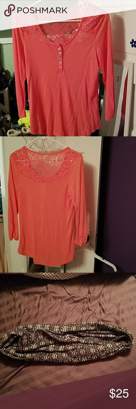 Coral Shirt and scarf Coral shirt and scarf, only worn a handful of times. Basically brand new. Neon Soul Tops