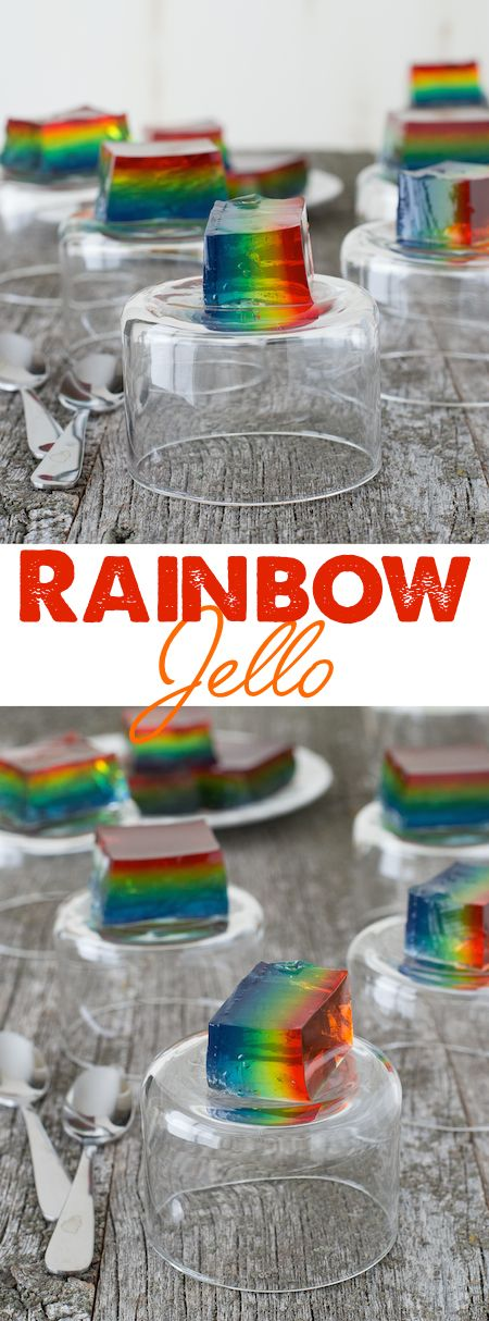 Rainbow Jello - create easy rainbow jello squares using 6 different colors of jello.