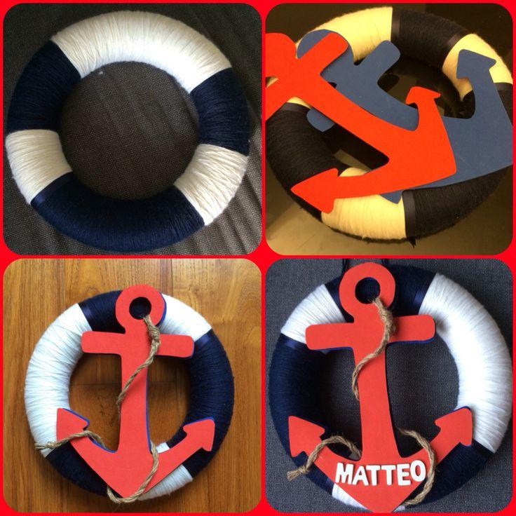 Bienvenido benvenuto welcome anchor ghirlanda fiocco nascita per porta homemade lana gommacrepla theme sea tema marino