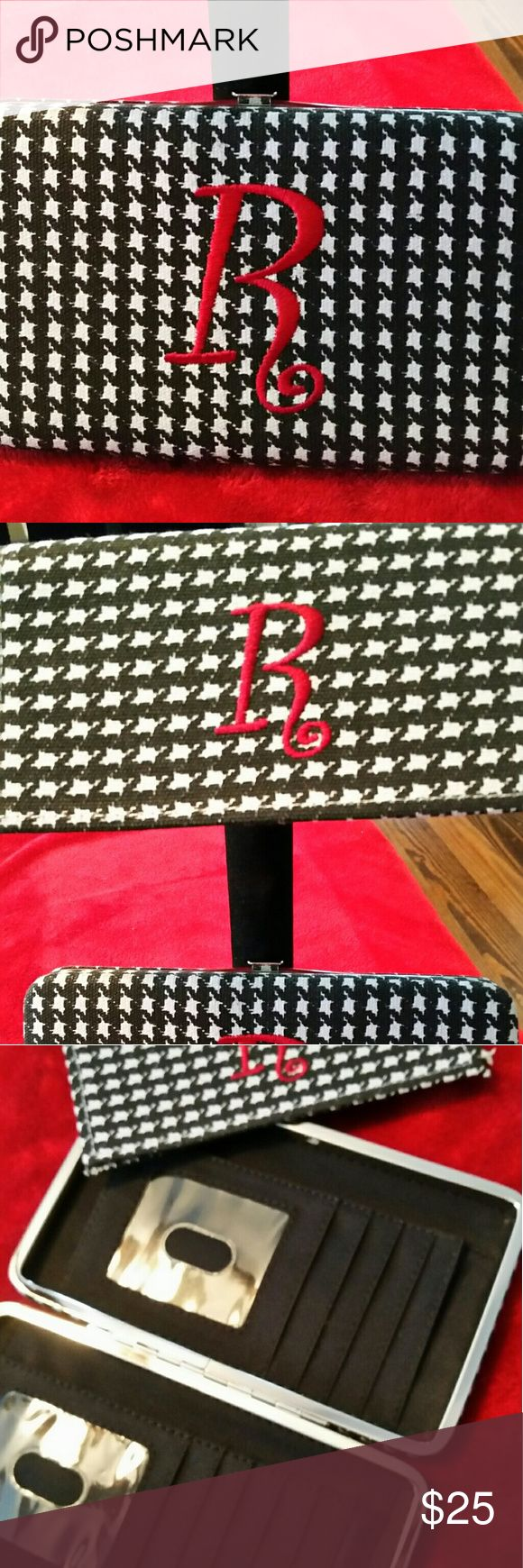 Houndstooth Intial R wallet and checkbook cover Brand new NEVER used wallet and checkbook cover. Houndstooth fabric and monogrammed R maroon thread. Alabama Crimson Tide fans must have! NONE Bags Wallets