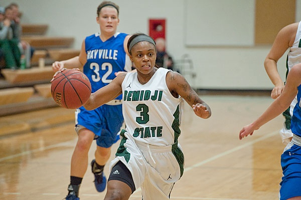 Lanae Rash, a newcomer at BSU, in a game against Mayville State. To read more visit http://www.bsubeavers.com/wbasketball/news/2012-13/6193/beavers-survive-late-surge-by-mayville-state-win-85-77/