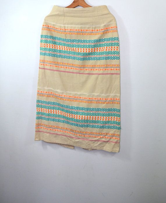 Vintage Skirt Southwestern Skirt Pencil Skirt by founditinatlanta