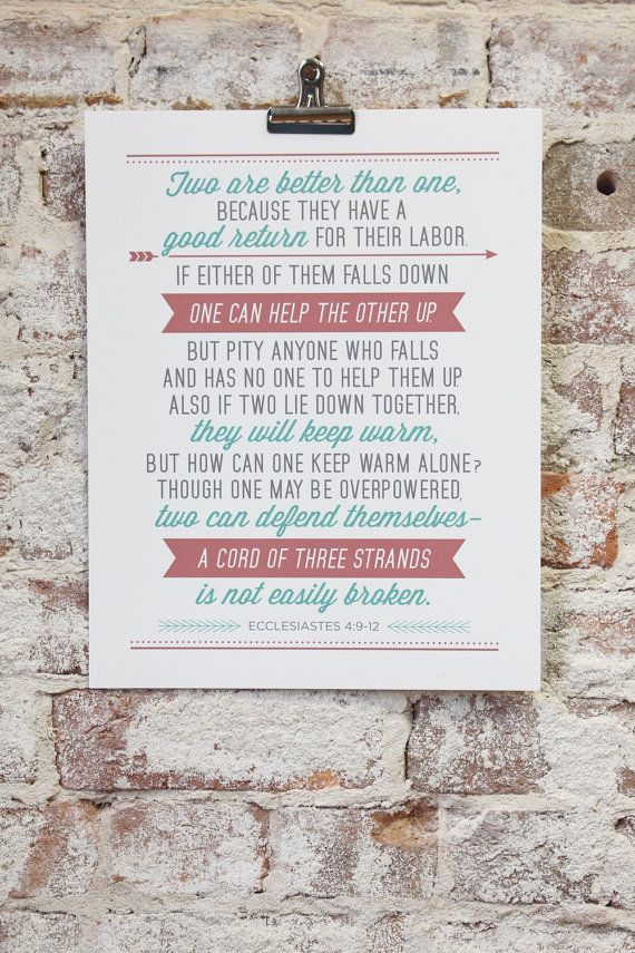 Wedding Gift Typography Poster Print Ecclesiastes 4 9 12 Personalize