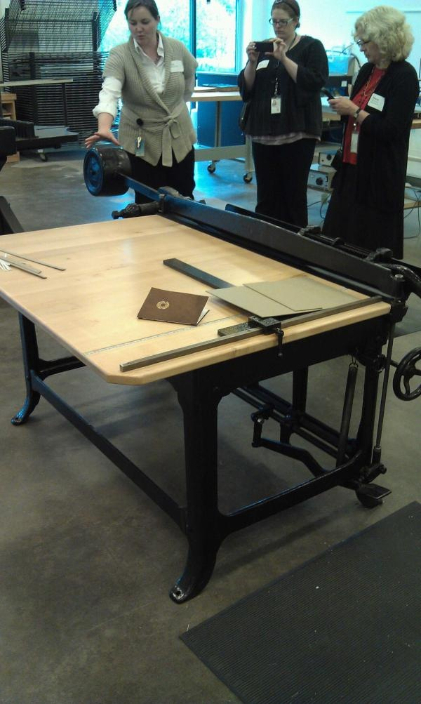 the board shear, which looks like a massive paper cutter