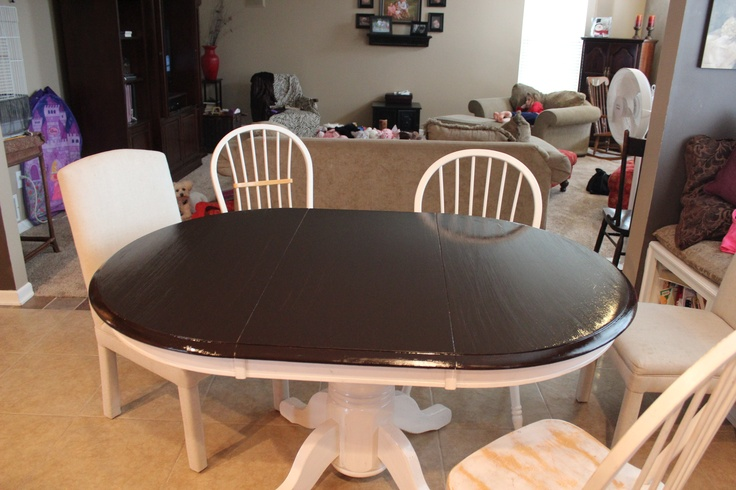 After picture of kitchen table using gel stain love painting tips pinterest stains gel Restaining kitchen table