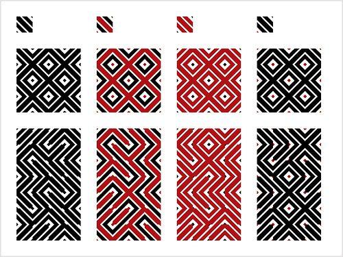 """Padronagens inspiradas nos grafismos dos Baniwa, povo indígena do Alto Rio Negro. Estes módulos são formados à partir da mistura das espessuras de linha da imagem 1. É importante ressaltar que estas formas não acontecem na cestaria, pois utiliza espessuras de linha diferentes. Montados de forma ordenada, constituem formas similares às da sílaba gráfica """"casco de jabuti"""""""