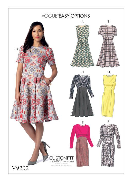 Vogue Patterns Easy Options Custom Fit dress sewing pattern with A-D cup sizes.